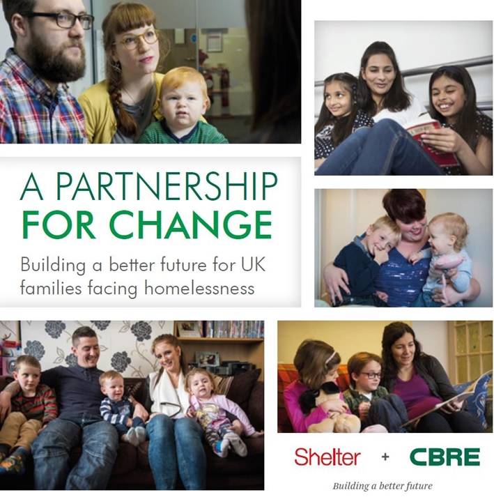 A partnership for change. Shelter + CBRE building a better future for UK families facing homelessness.