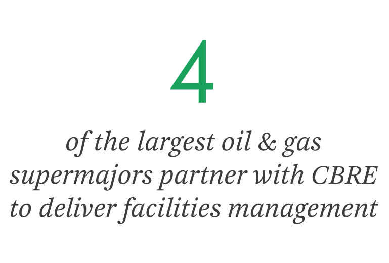 4 of the largest oil & gas supermajors partner with CBRE to deliver facilities management